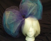 Head Eating Tulle Hair Bow - Purple, Teal, and White