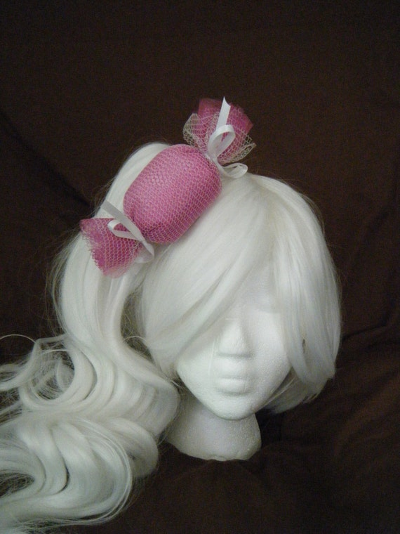 Extra Large Tulle Candy Hair Bow - Pink, and White
