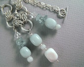 Handmade Silver Chainmaille Necklace with Amazonite and  Aquamarine