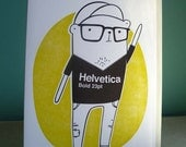 Type loving hipster bear, letterpress greeting