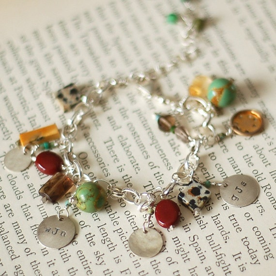 MOTHER'S CHARM BRACELET Sterling Silver & Stones Hand Stamped