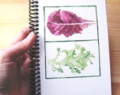 Notebook, print of original watercolor painting of Lettuce, 4.5 x 6.5 inches, blank pages, gardener gift