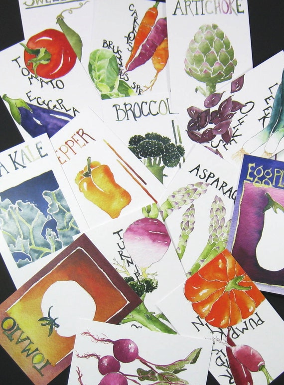 Twelve Vegetable Portrait Postcards of your choice, gardening quotations on back, 4 in x 6 in, silky smooth, gardener foodie gift set