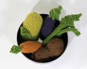 Set of 5 Knitted Vegetables - Potato, Carrot, Eggplant, Celery, Corn Cob