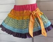 Rainbow Skirt - Ruffled Toddler Twirl Skirt - 12m, 18m, 2T, 3T, 4T, 5, 6