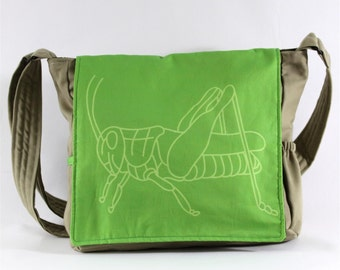 Green Grasshopper Messenger Bag - Original Fabric Design