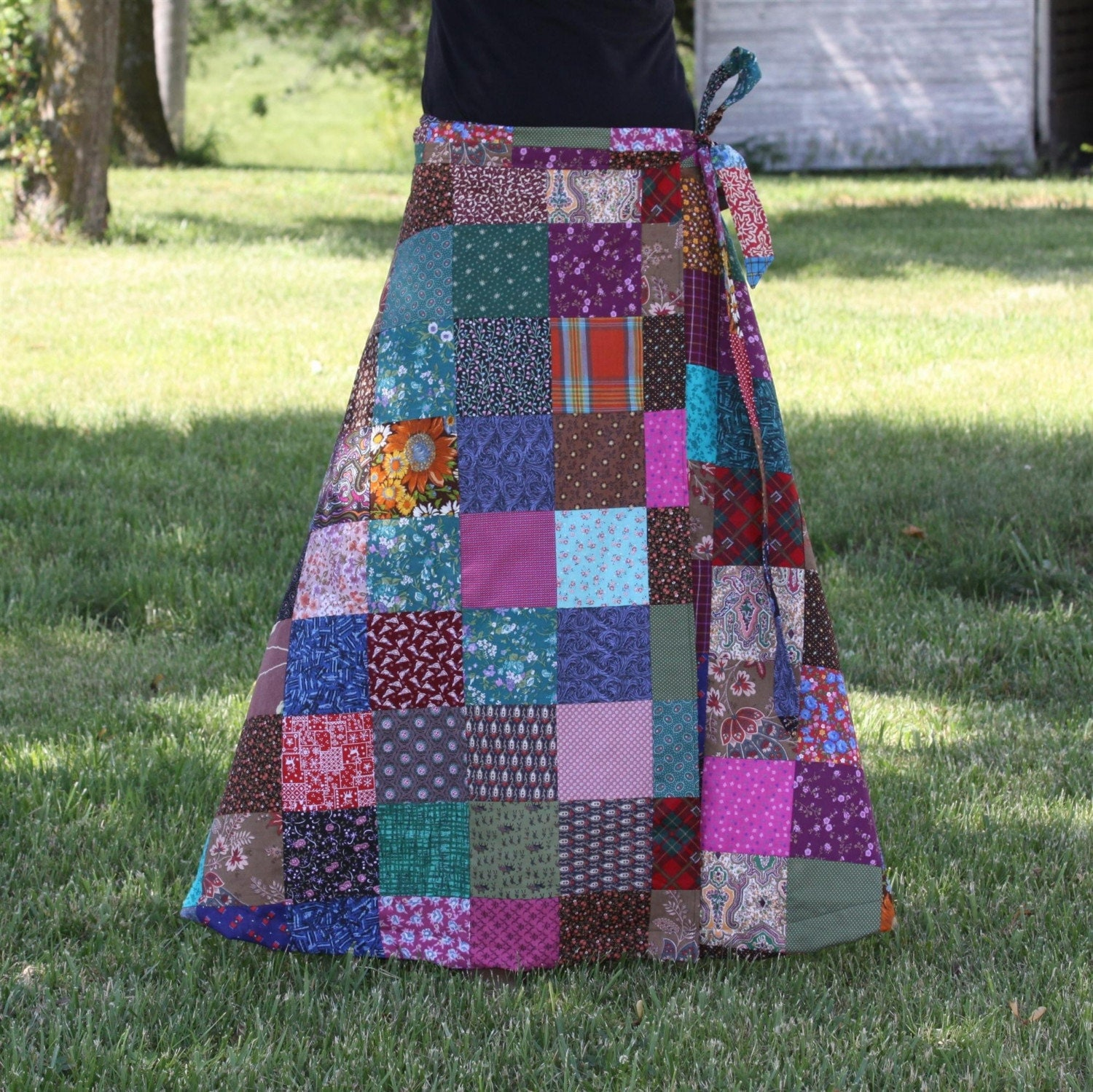 Patchwork Long Wrap Skirt S M L Xl Hippie Festival
