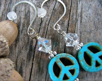 Hippie Elegant Peace turquoise and Swarovski crystal earrings
