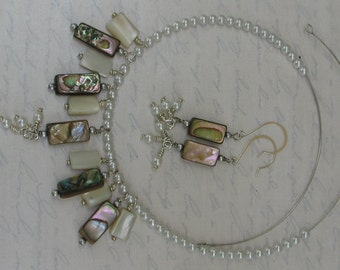 Seaside Necklace and earrings set Abalone and pearl