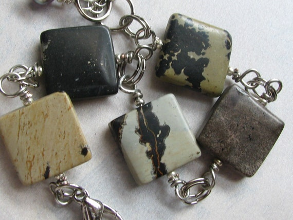 Stone squares River Jasper bracelet with freshwater pearls, organic, weighty, wire wrapped