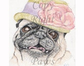 April colors, Pugs in Hats Series Aceo Art Card Print