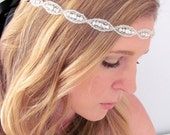 The Natalie - Silver Rhinestone and Beaded Tie Headband or Halo