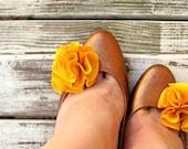 Golden Yellow Flower Shoe Clips