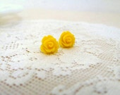 Tiny Lemon Yellow Rosebud Stud Earrings