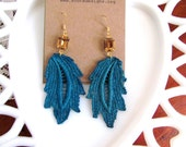 SALE - Bright Teal and Amber Drops - Vintage Lace and Amber Stone Earrings