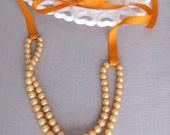 SALE - Vintage Autumn Orange Ribbon Necklace