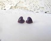 20% off - Love Studs - Plum Purple Heart Stud Earrings