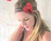 Sale: 40% off - Red & Gray Heart Band - Stretch Headband