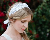 SALE! Soft and Sparkling: Lace and Rhinestone - Bridal Tie Headband or Sash
