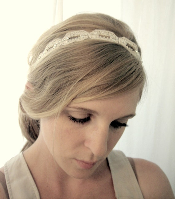 Shimmering White and Silver Headband - Bridal or Special Occasion