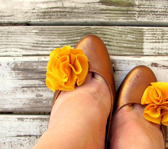 Golden Yellow Flower Shoe Clips