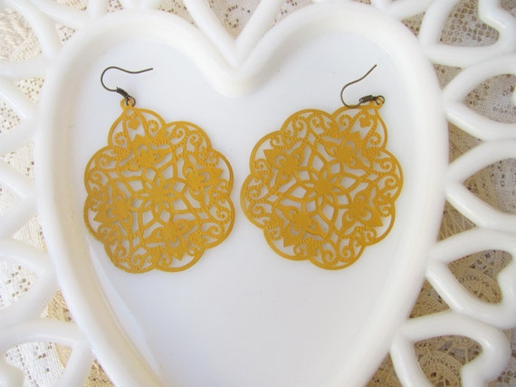 Over-Sized Lacy  Cutout Mustard Yellow Drop Earrings