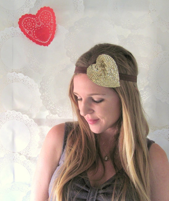 Sale: 40% off - Brown & Gold Heart Band - Stretch Headband