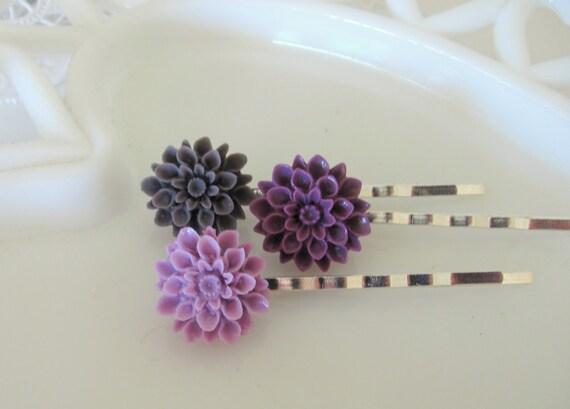 Shades of Purple - Set of Three Dahlia Flower Hairpins