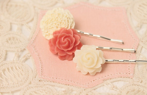 Coral and Ivory Blooms  - Set of Three Flower Hairpins
