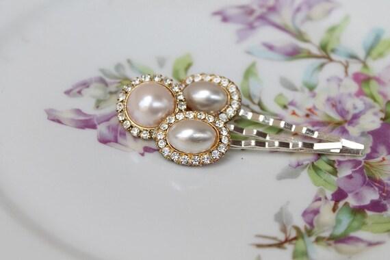 Vintage Pearl and Rhinestone Hairpins