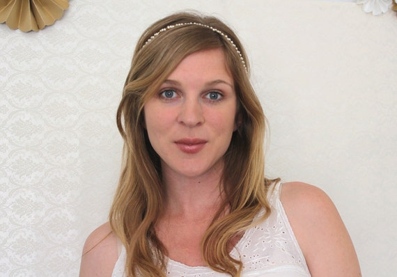 The Madeline - Vintage Pearl and Gold Tie Headband