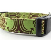 Green and Brown Floral Dog Collar - The Emma