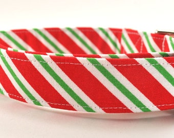 Red and Green Holiday Dog Collar - The Candy Cane