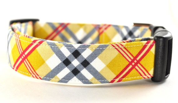 Plaid Dog Collar - Preppy Plaid in Yellow