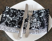 Black and White Vines and Flowers - Set of 4 Napkins