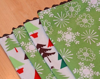 Cloth Napkins - Christmas Trees and Snow Flakes