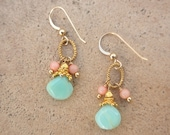 Coral and Blue Opal earrings gold filled