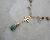 multicolor tourmaline gold cross necklace