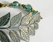 NATURAL WOMEN, PATINA LEAVES BRANCH-TURQUOISE MELON BEADS-bracelet