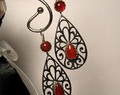 Carnelian copper and sterling earrings in teardrop peacock design