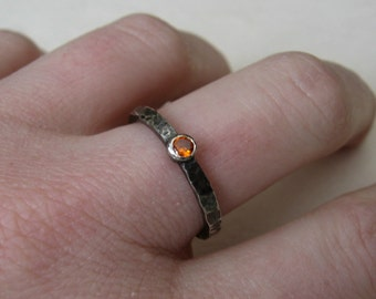 Distressed sterling silver stacking ring with orange cubic zirconia or your choice of stone made to order