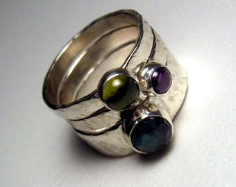Hammered sterling stacking ring set of three labradorite amethyst peridot