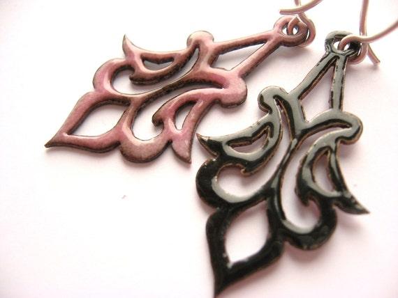 Rose Arabesque Enamel Earrings