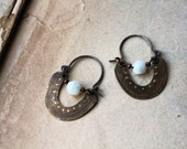 Custom made for Tanya - Byzantines hoops textured brass ethnic boho chic earrings
