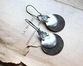 Reserved - Alchemist Drops earrings verdigris silver tone rustic metallic discs