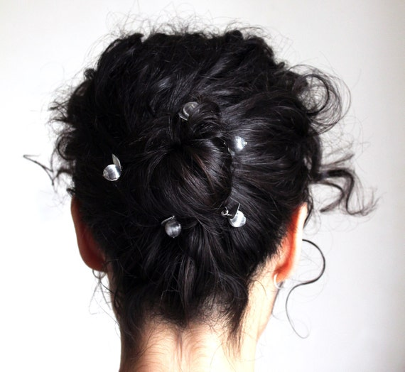 dove gray hair pins set of 5 handmade silk hair ornament
