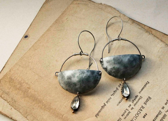 Cybele earrings large hand formed textured metal scoops and vintage crystal pendants