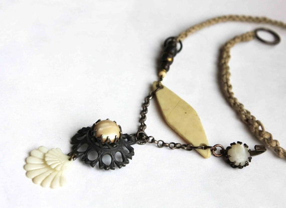 On the way to Compostelle necklace - found objects - hand knitted cord - ivory  - mother of pearl buttons - urban gypsy rustic assemblage