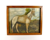 Antique Oil on Board Painting of a Horse