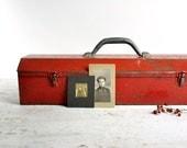 Vintage Metal Tool Box / Red Metal Box / Industrial Storage